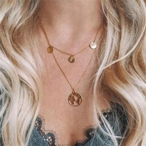 Boho Multilayer World Gold Pendant Necklace